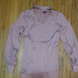 NEVER WORN light pink satin blouse with train